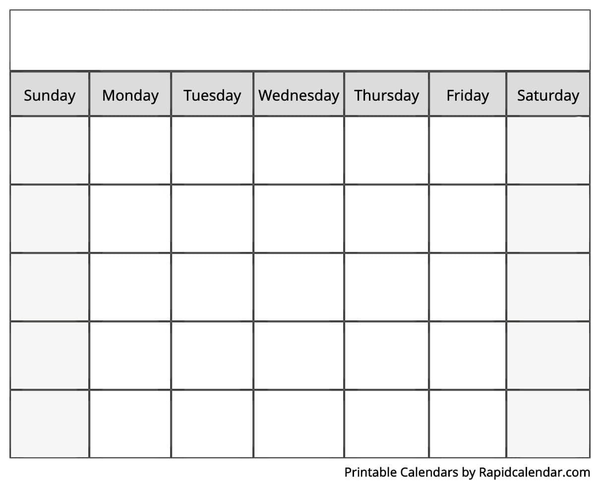 Blank Calendar - Rapid Calendar