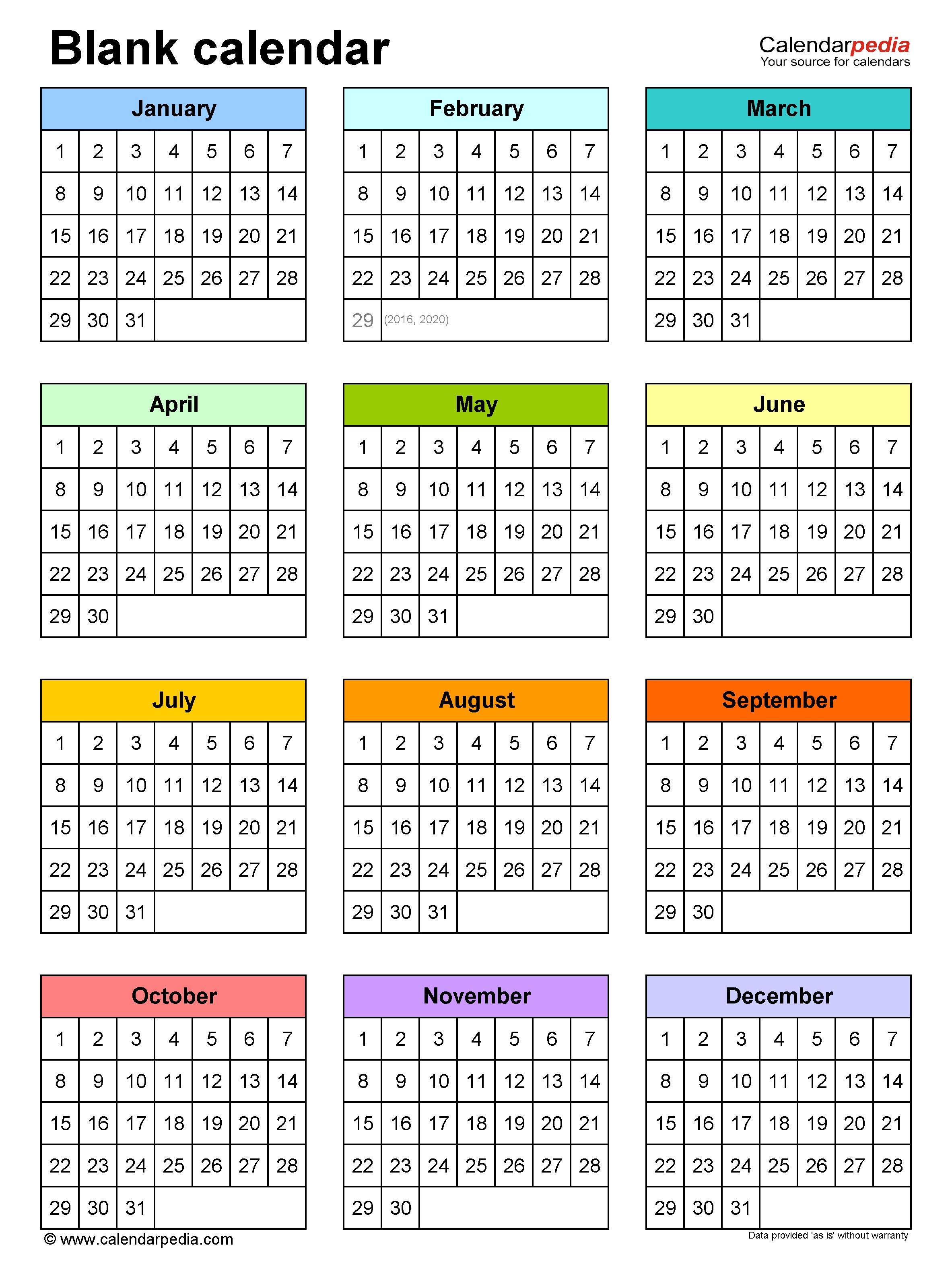 Blank Calendars - Free Printable Pdf Templates