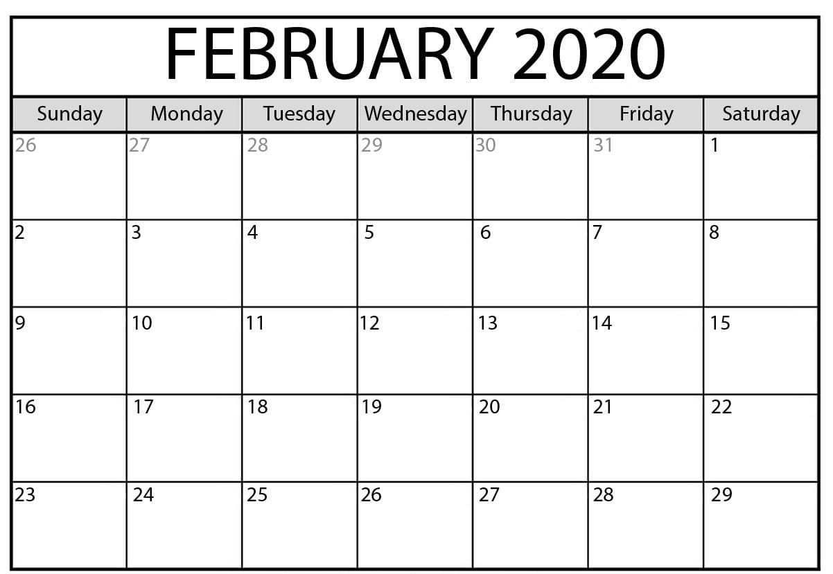 Blank February 2020 Calendar Templates Printable Download
