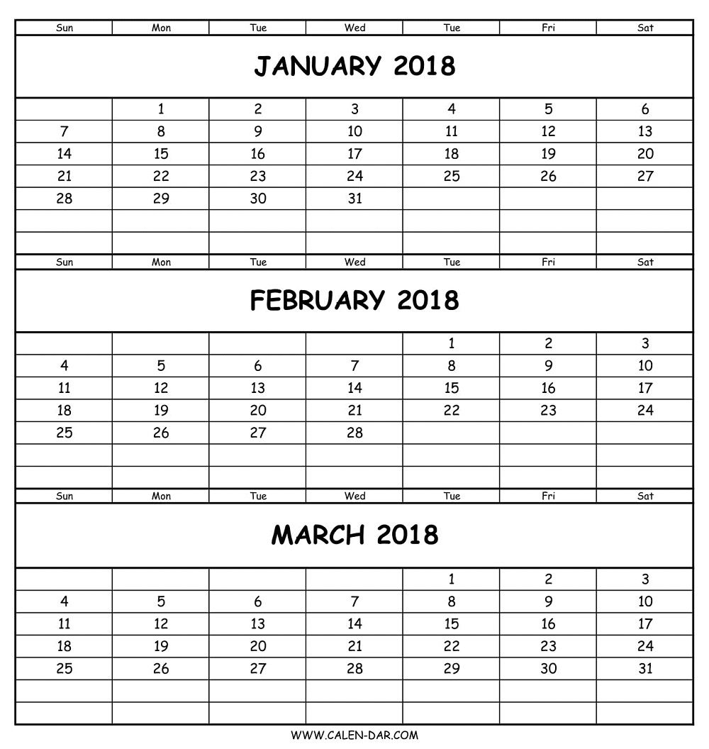 Blank January February March 2018 Calendar Template | Three