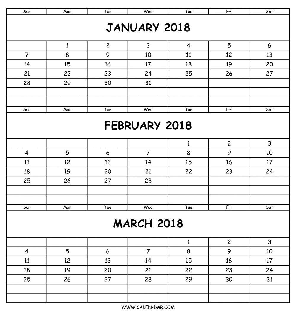Blank January February March 2018 Calendar Template | Three