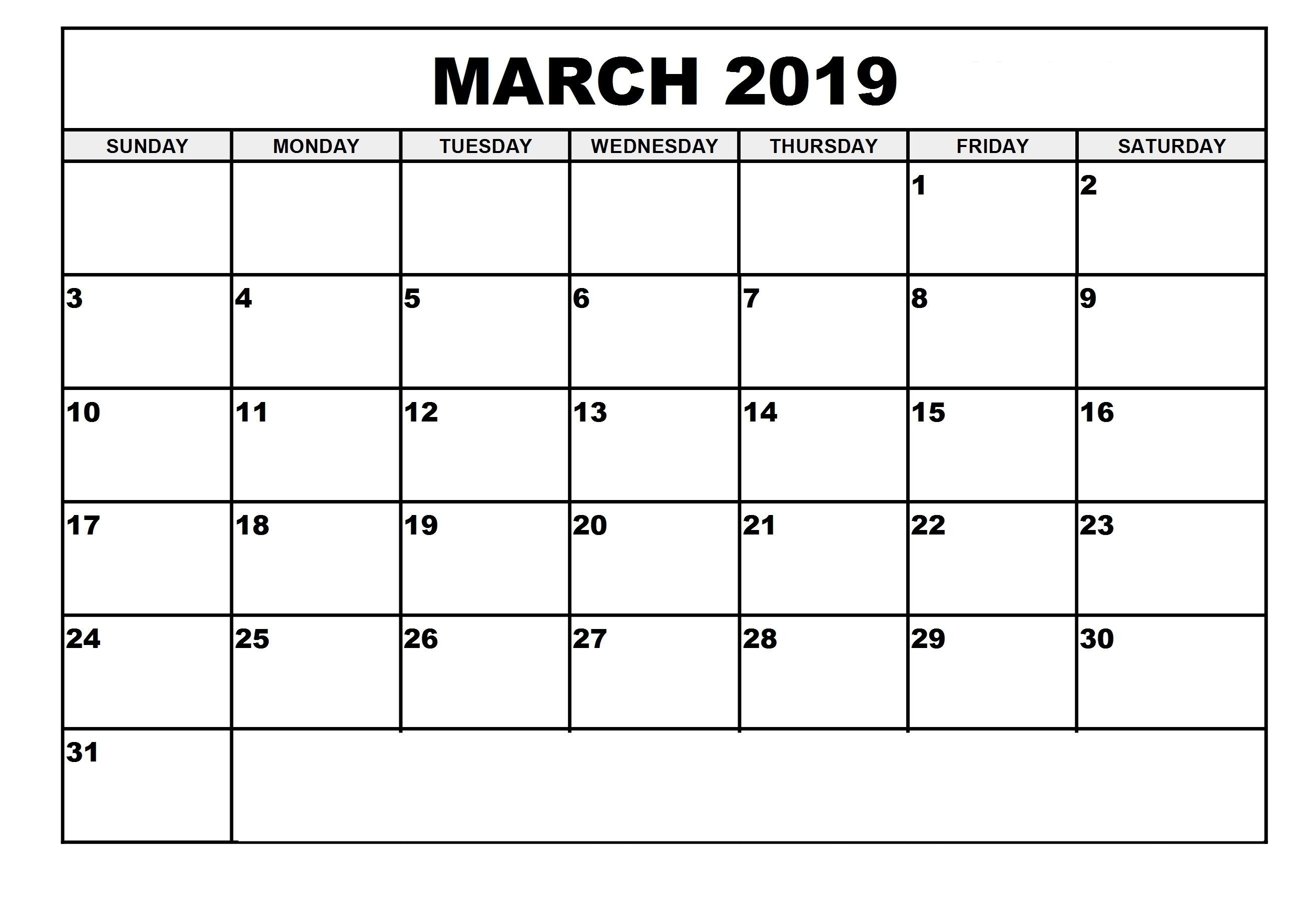 Blank March 2019 Calendar Notes Bar (With Images) | Editable