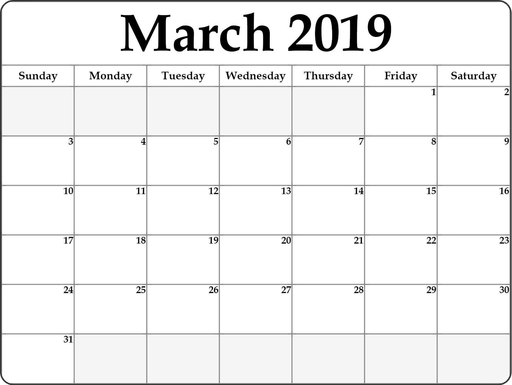 Blank March 2019 Calendar Printable | Blank Monthly Calendar