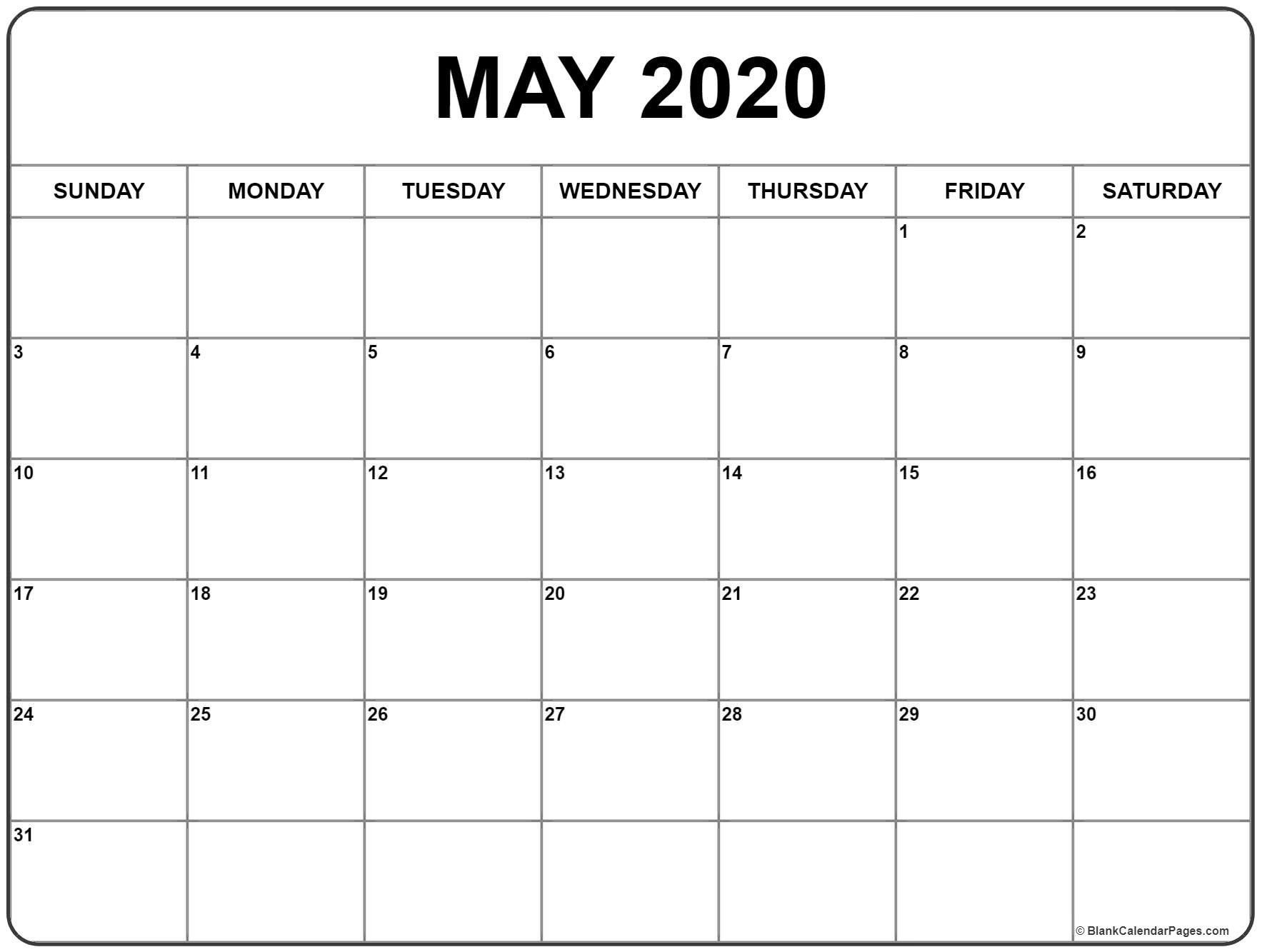 Blank May 2020 Calendar Printable | Calendar Printables