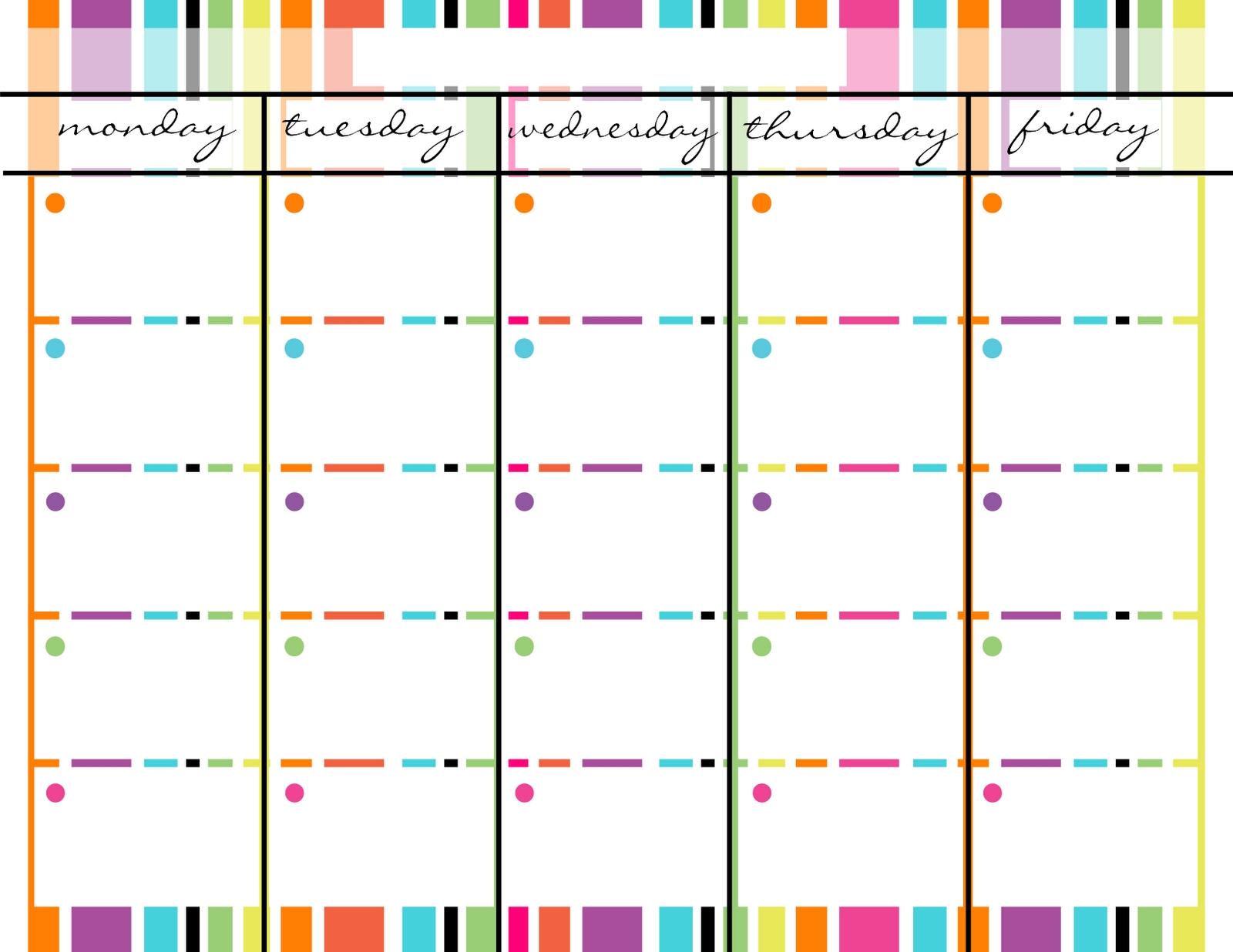 Blank Monday Through Friday Printable Calendar   Calendar