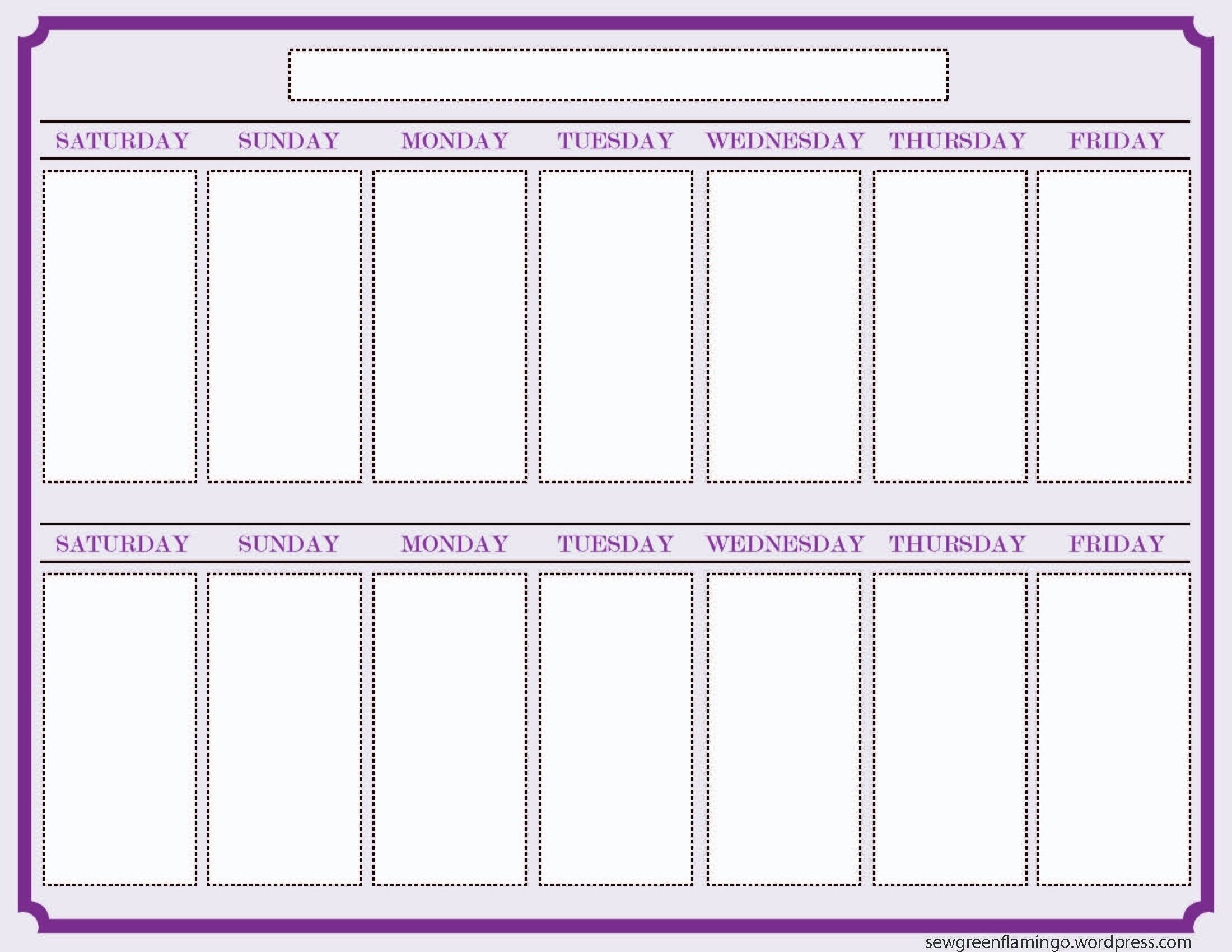 Blank Two Week Schedule Template   Free Calendar Template