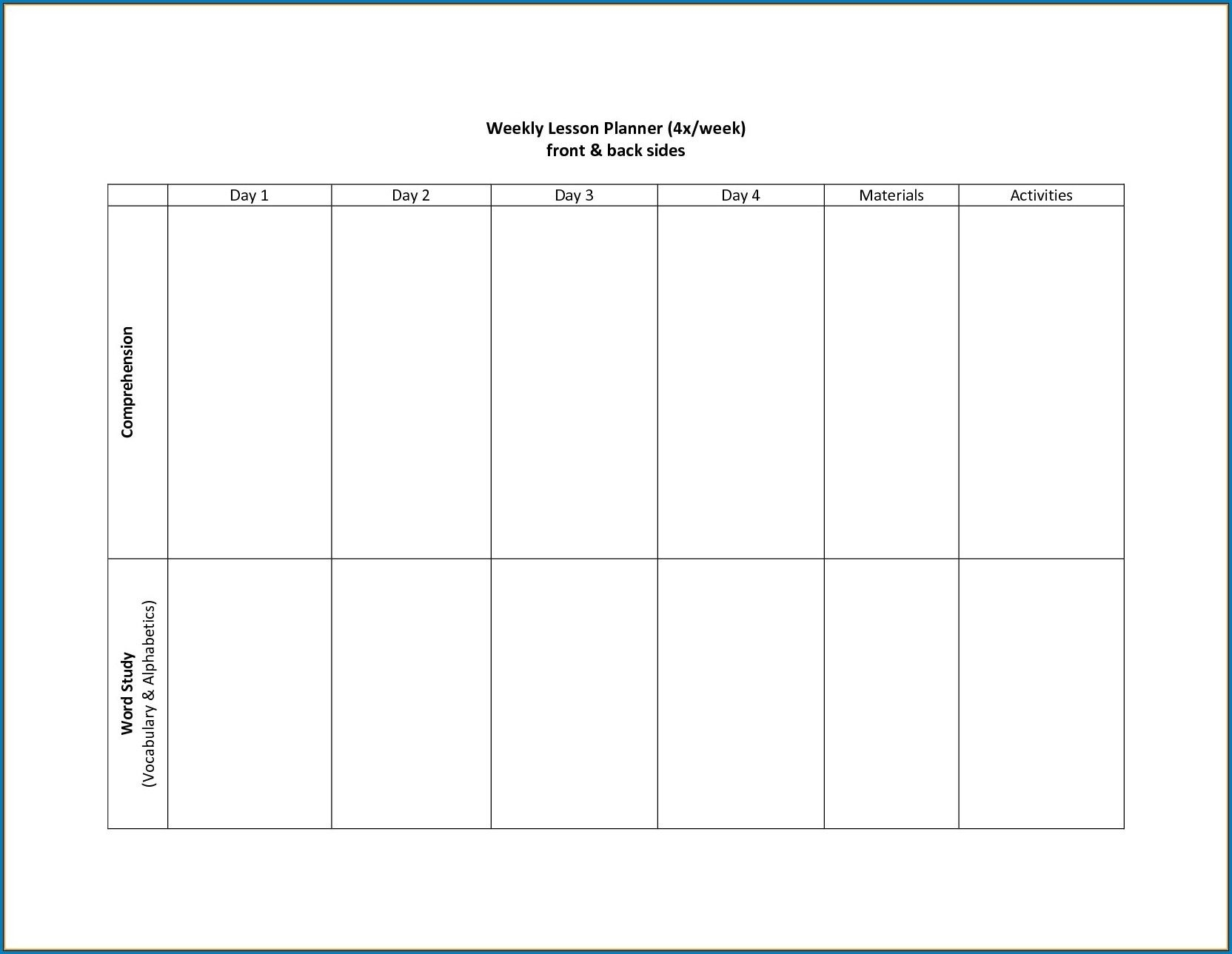 Blank Two Week Schedule Template | Free Calendar Template