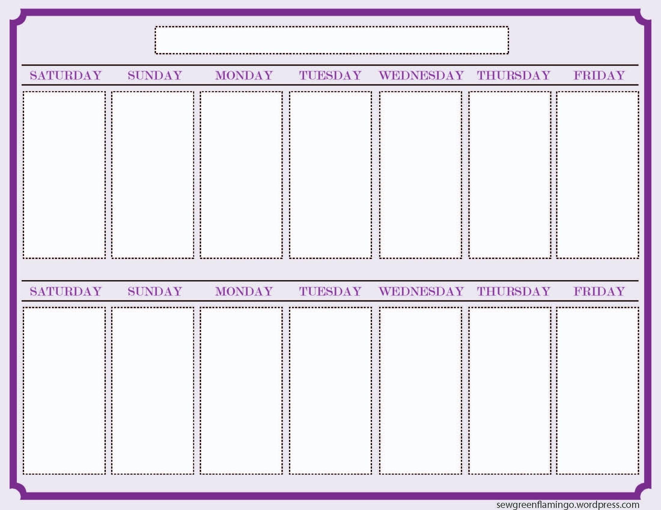 Blank Two Week Schedule Template | Free Calendar Template