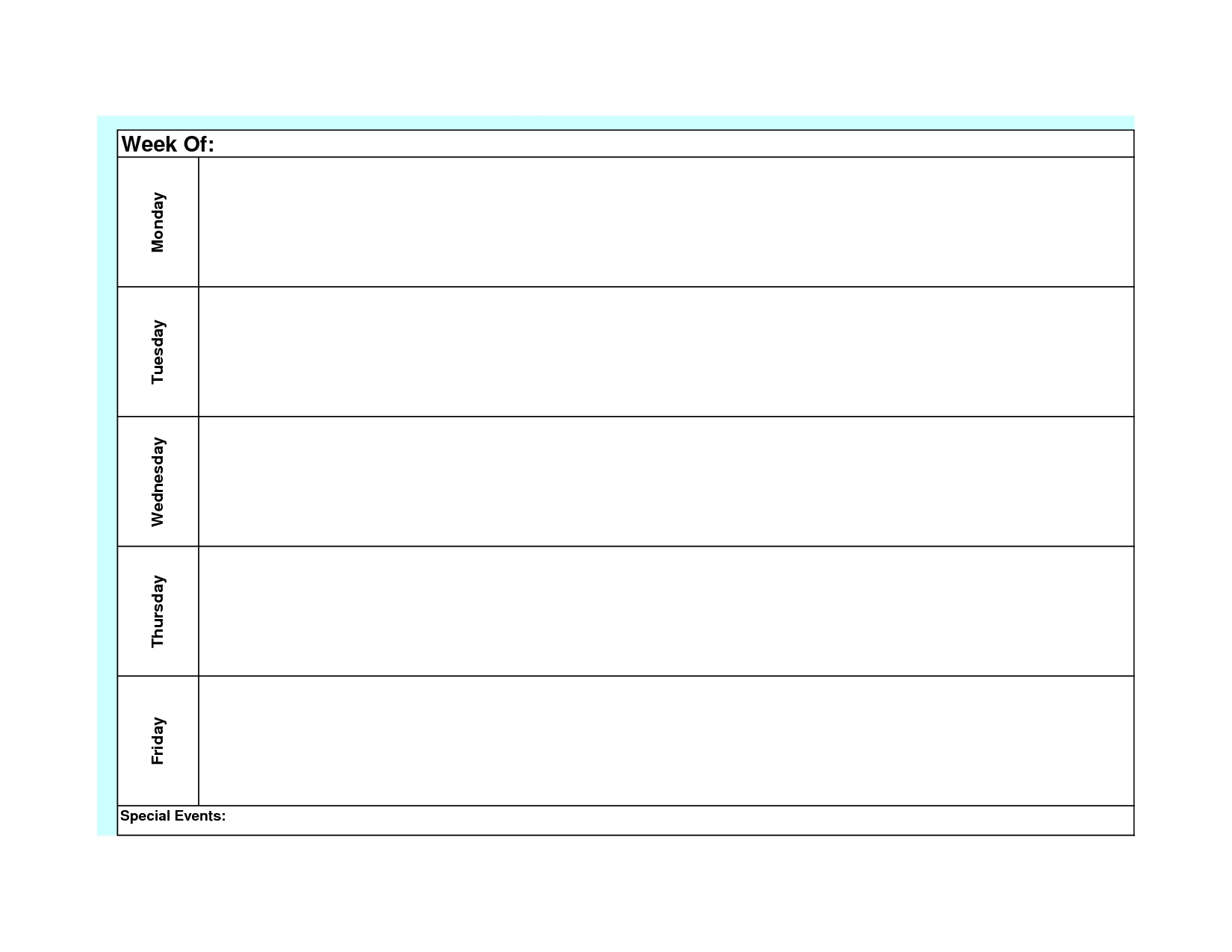 Blank Weekly Calendar Template Monday Friday (With Images