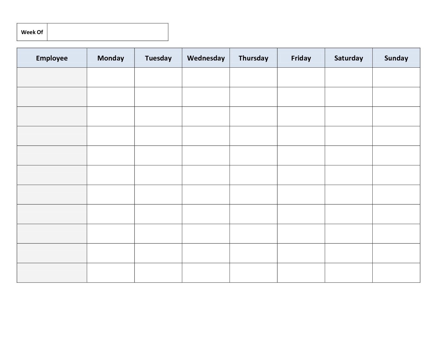 Blank Weekly Work Schedule Template | Timetable Template