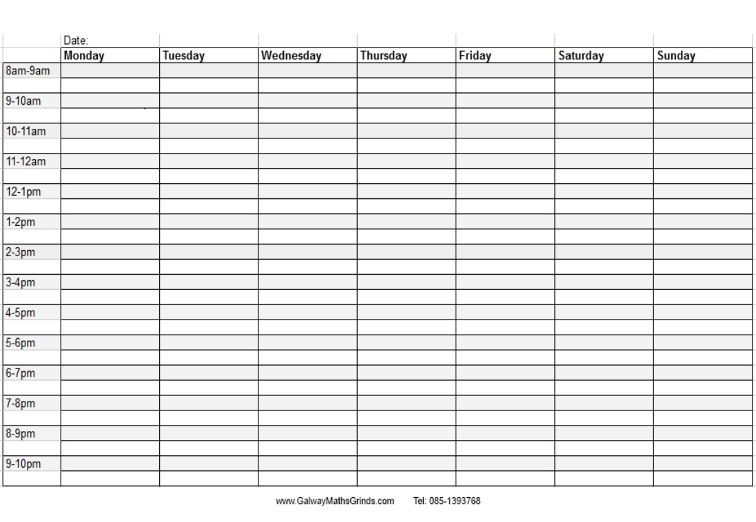 Blank+Weekly+Calendar+Template+With+Times | Timetable