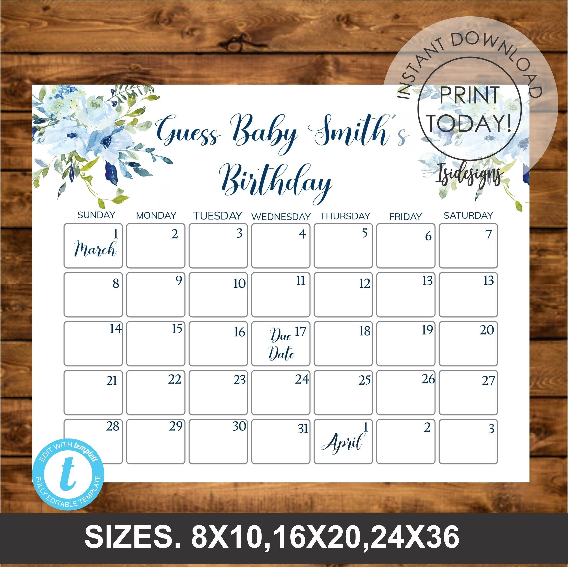 Blue Floral Editable Due Date Calendar, Guess Baby Birthday