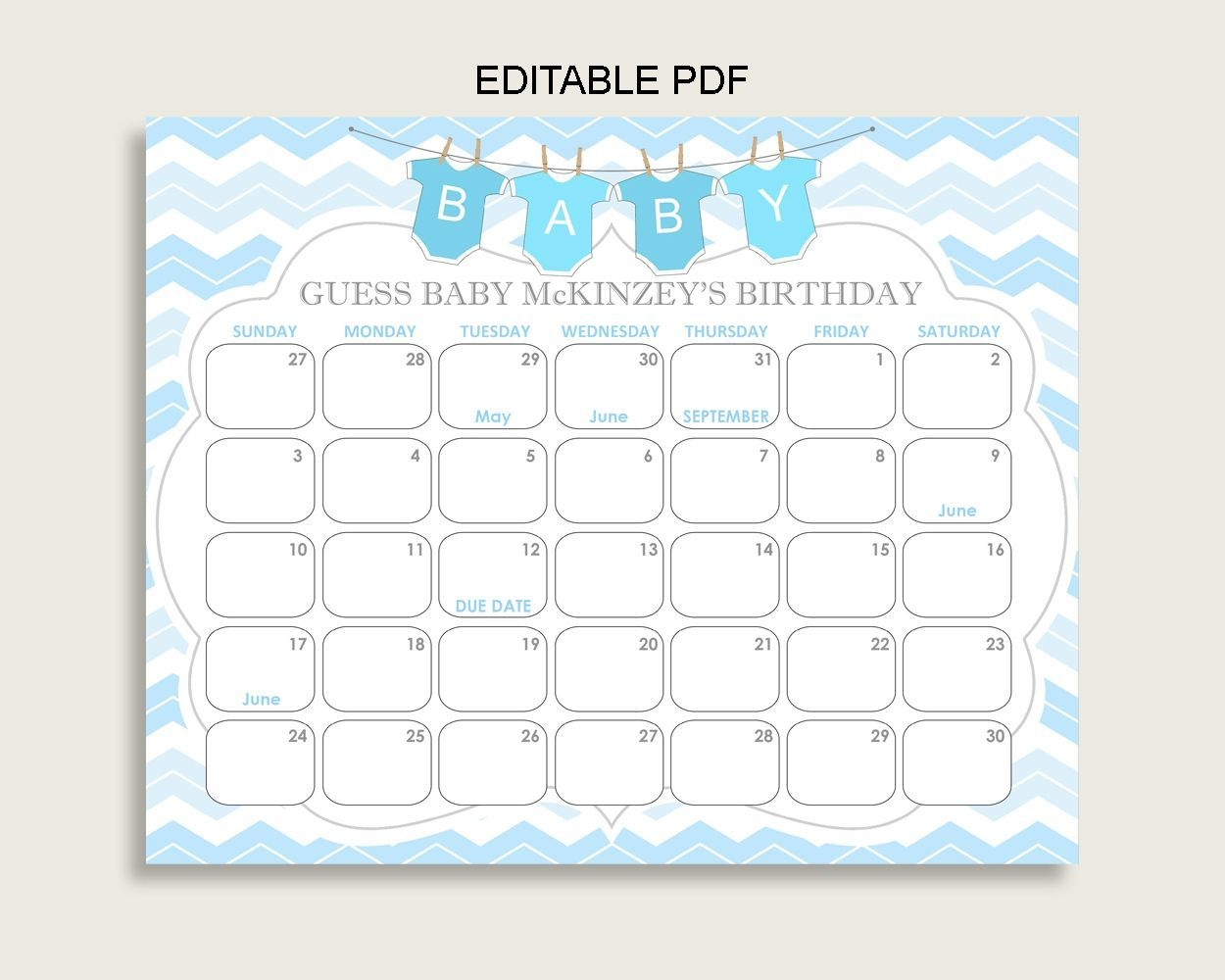 Blue White Guess Baby Due Date Calendar Game Printable