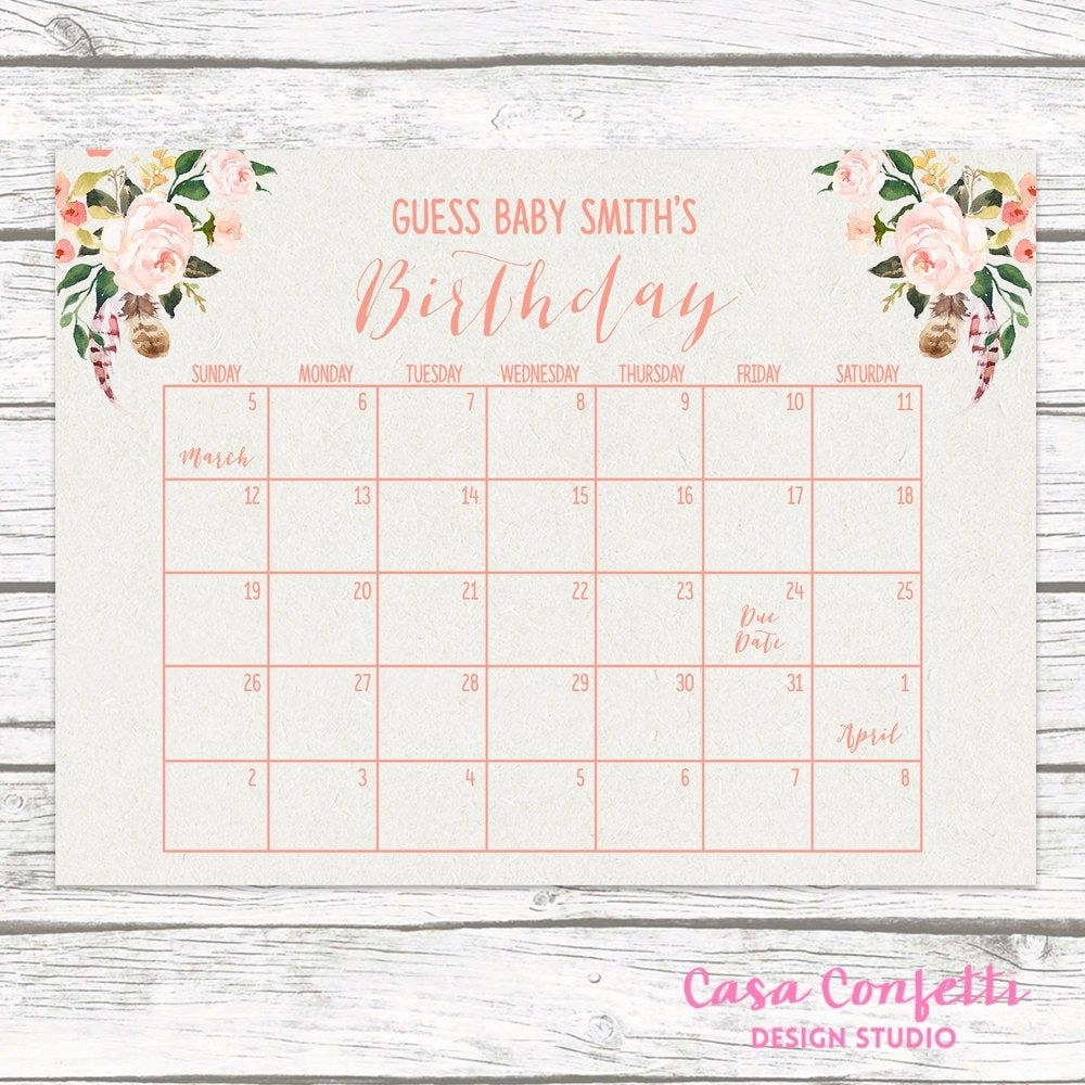 Boho Due Date Calendar, Guess Baby's Due Date, Baby Shower Game, Guess  Baby's Birthday, Birthday Predictor, Peach Floral Printable