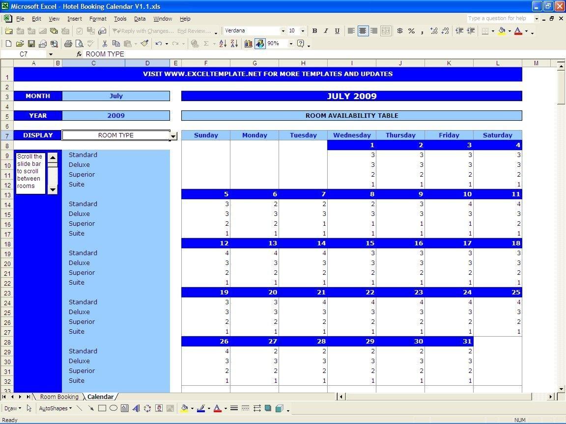 Booking And Reservation Calendar | Excel Calendar, Calendar