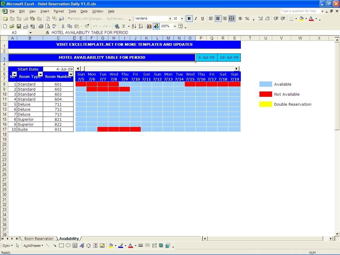 Booking And Reservation Calendar » Exceltemplate