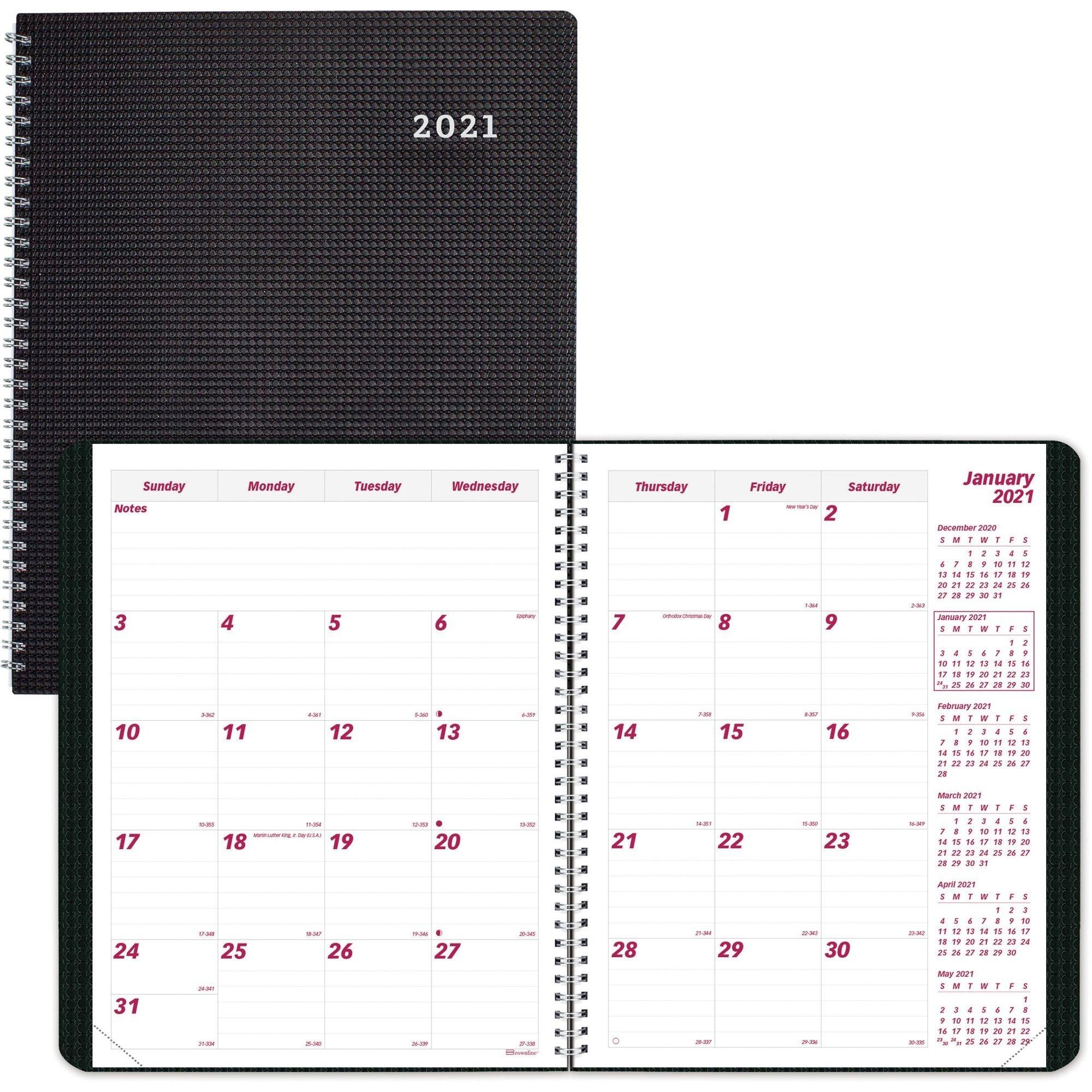 """Brownline Duraflex Planner Calendar, 2 Pages Per Month, 8-1/2"""" X 11"""", Black"""