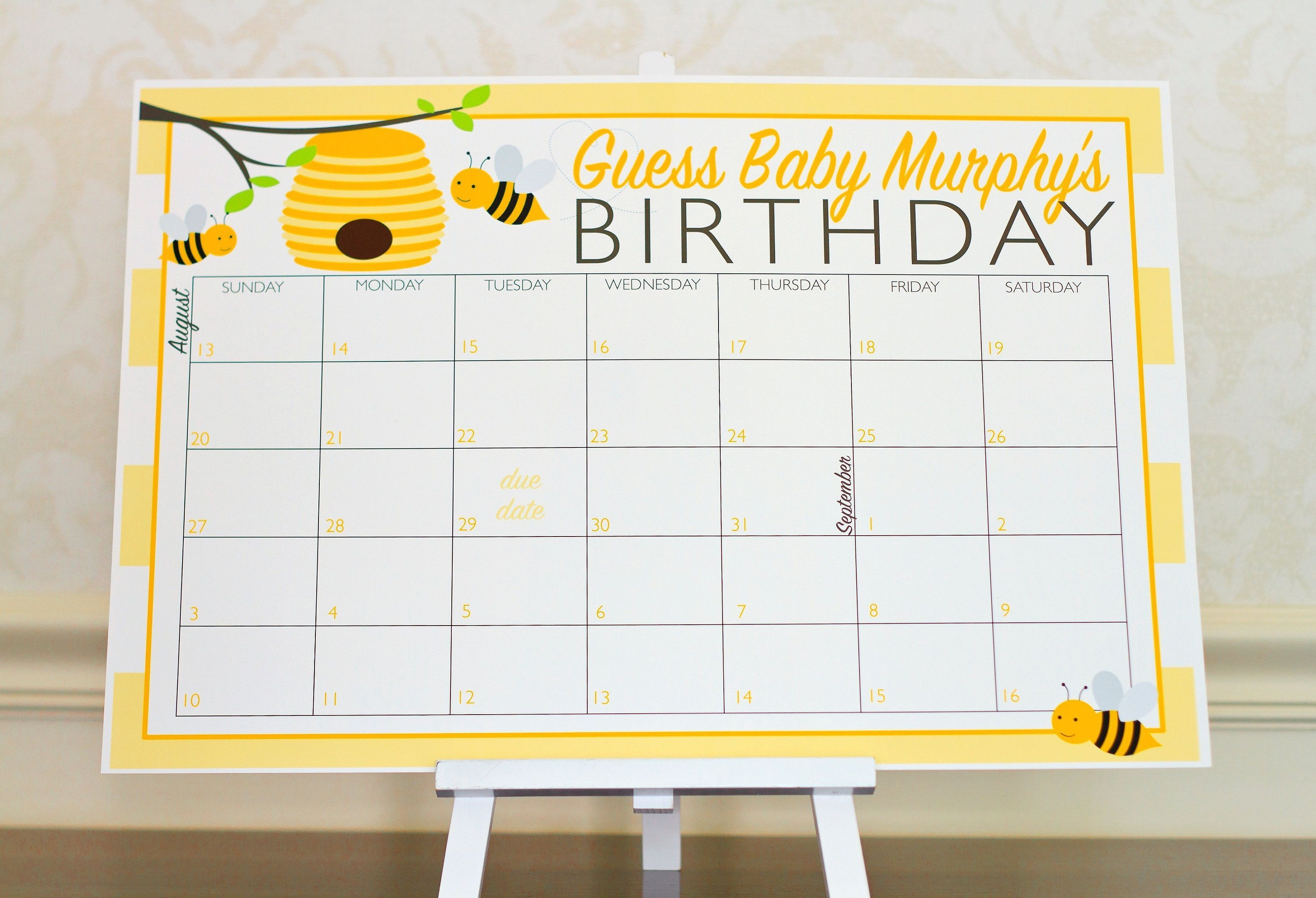 Bumble Bee Baby Shower Game - Guess The Due Date Calendar