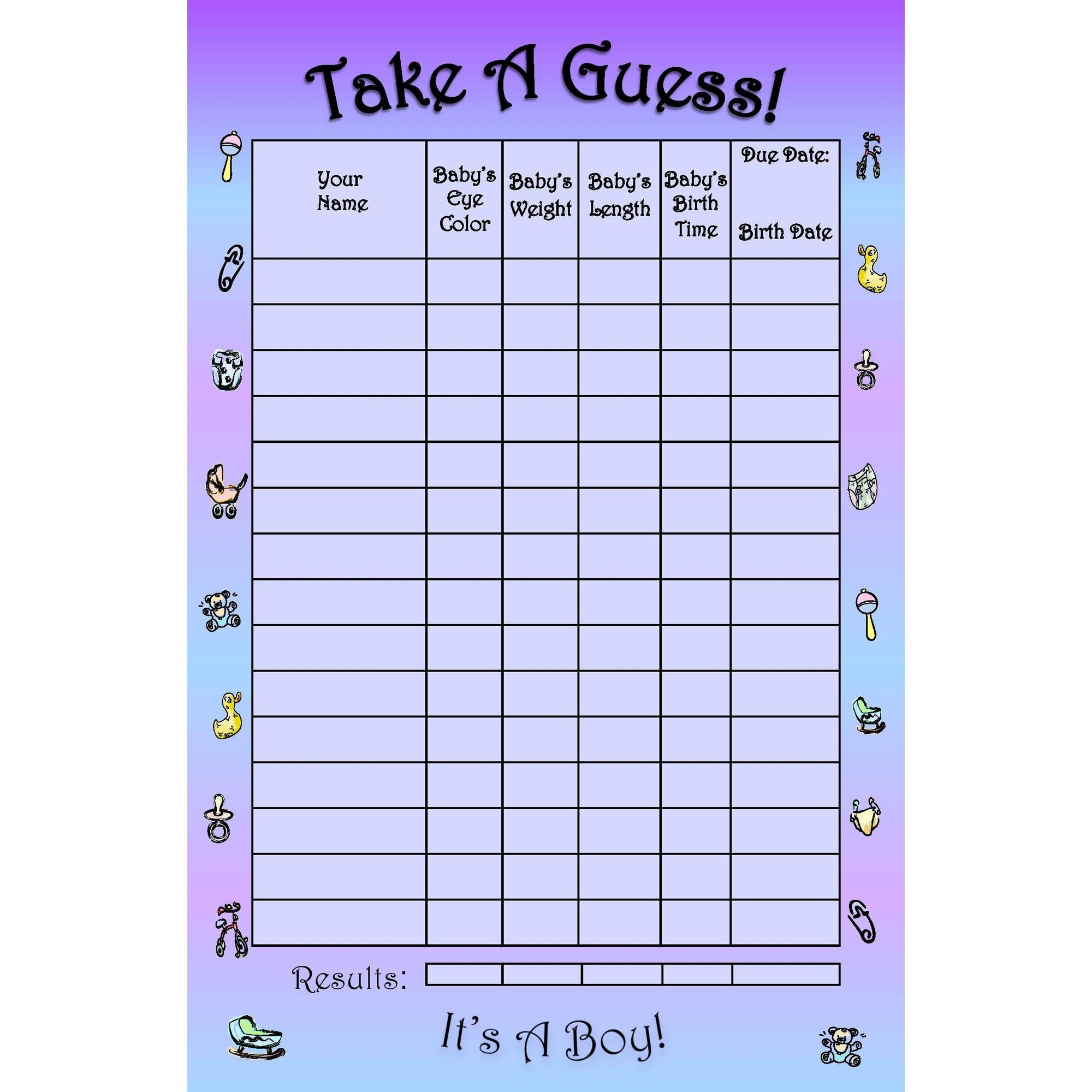 Bundle Board It's A Boy! Baby Guessing Game And Keepsake, Small: 15 Players  - Walmart