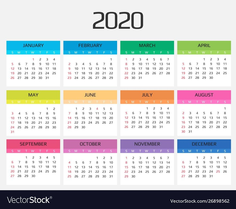 Calendar 2020 Template 12 Months Include Holiday For 12