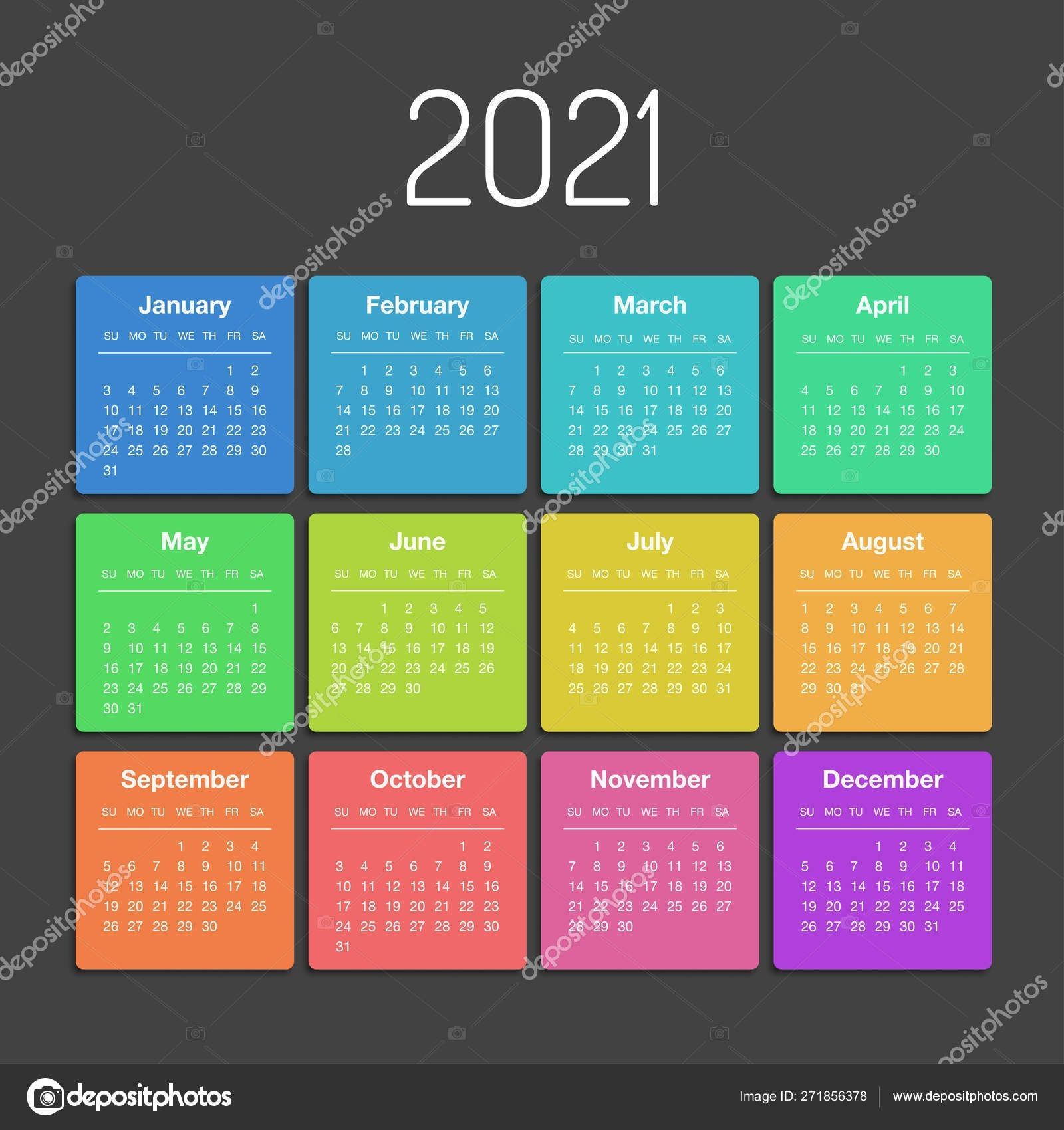 Calendar 2021 Year Template Day Planner In This Minimalist