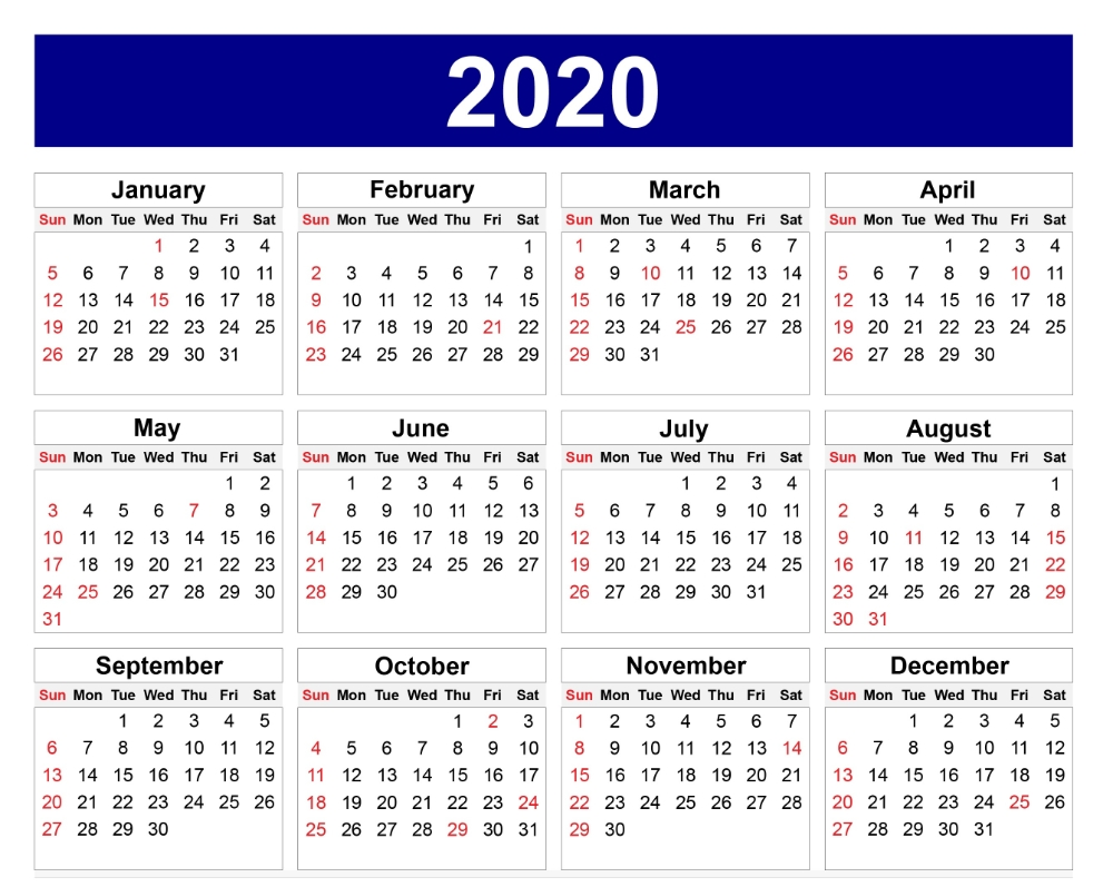 Calendar For 2020 – Edit Your Meeting Date In Box