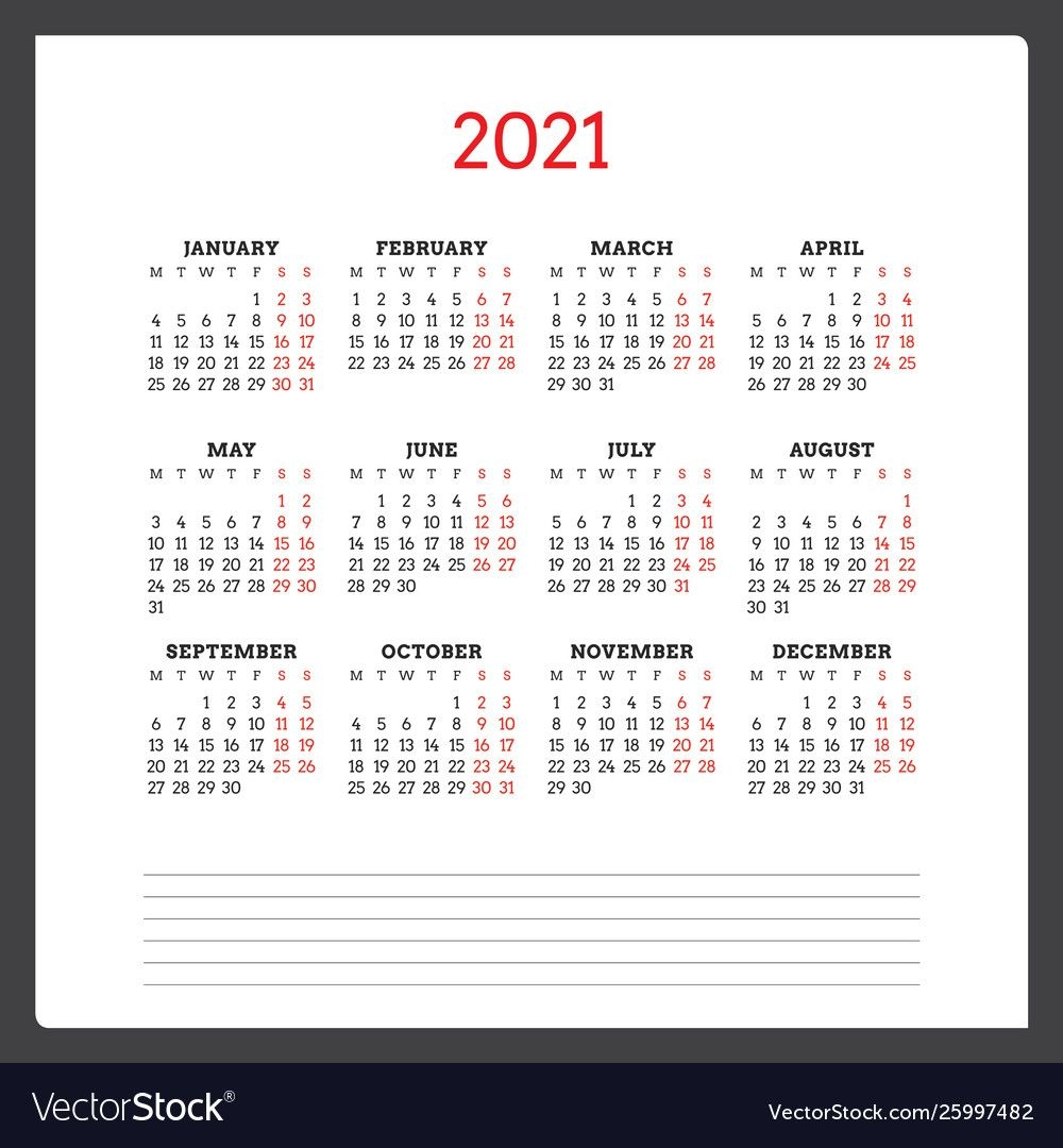 Calendar For 2021 Year Week Starts On Monday