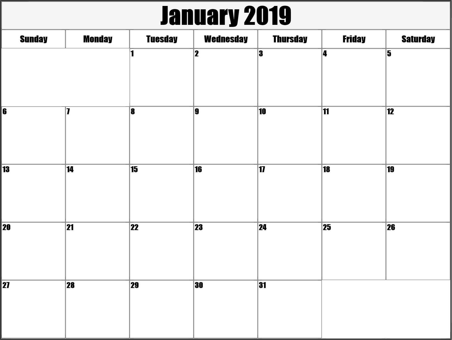 Calendar January 2019 Printable Large (With Images