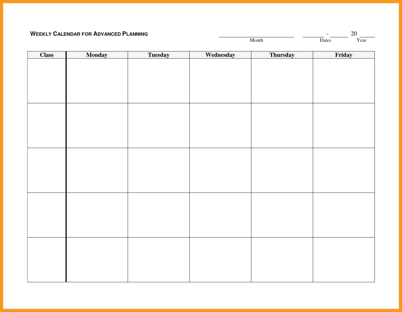 Calendar Monday To Friday - Bance