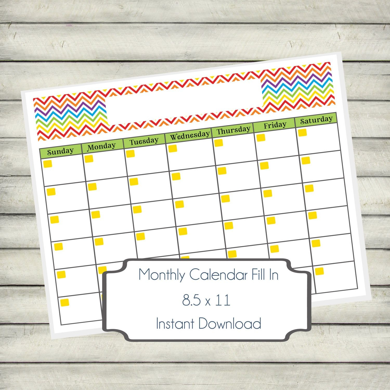 Calendar Monthly Printable - Artist Rainbow Chevron, Fill In Instant  Download Digital Calendar Fill In Template, Home Organization