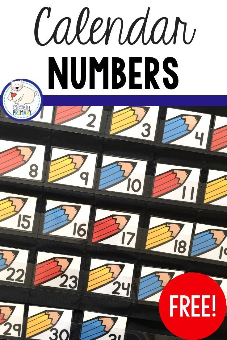 Calendar Numbers Freebie (With Images) | Calendar Numbers