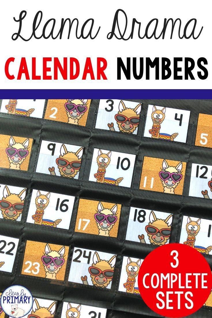 Calendar Numbers: Llamas | Calendar Numbers, Printable