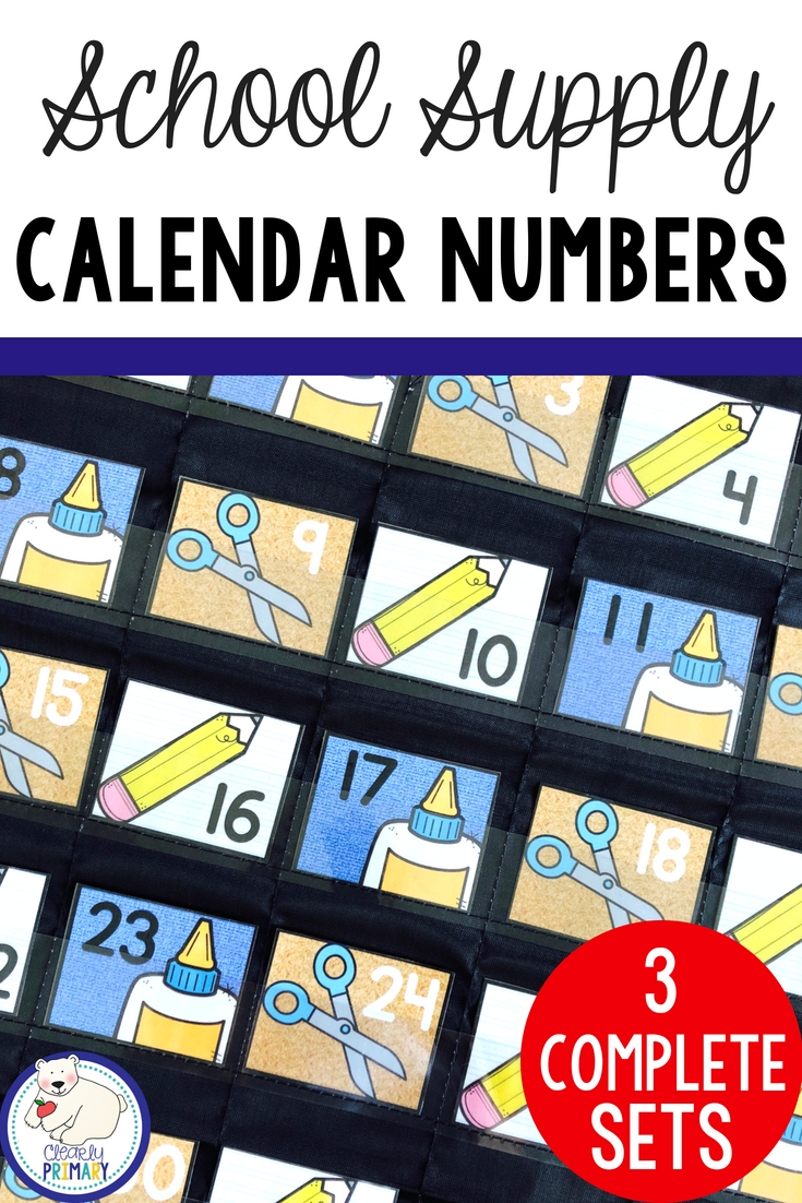 Calendar Numbers: School Supplies | Calendar Numbers, School