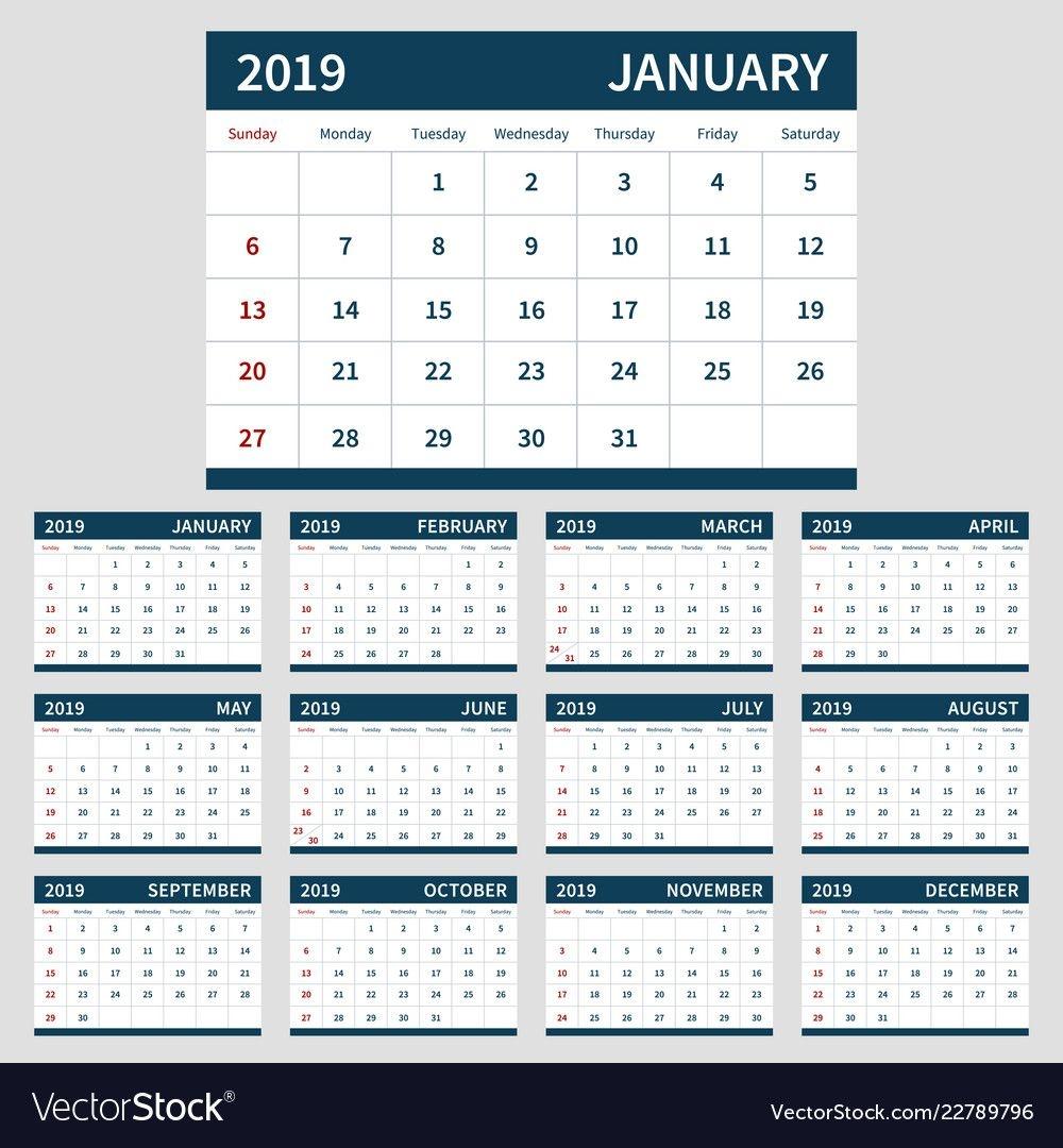Calendar Planner 2019 Template Set Of 12 Month