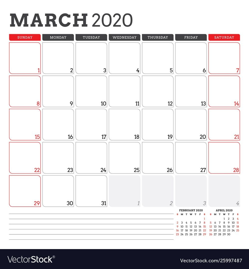 Calendar Planner For March 2020 Week Starts On