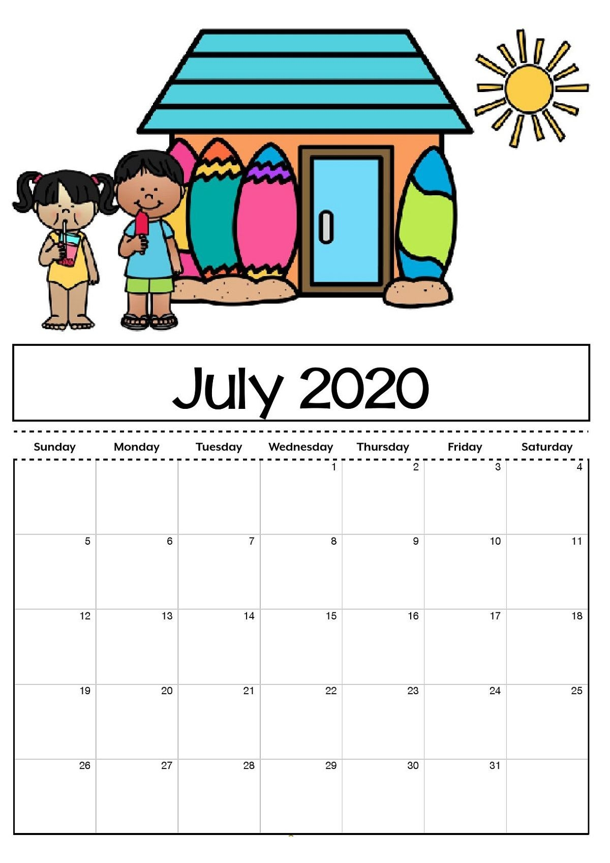 Calendar Template For Kids - Bance