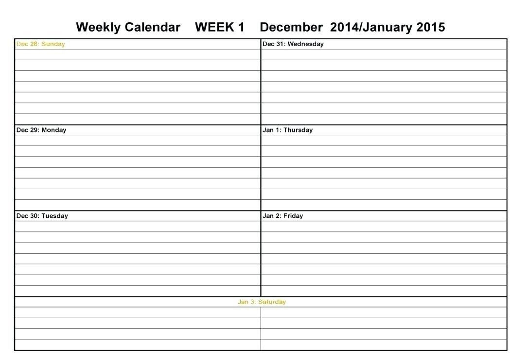 Calendar Week On A Page | Calendar Printables Free Templates