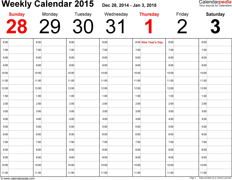 Calendarpedia - Free Printable, Fillable Calendar Templates