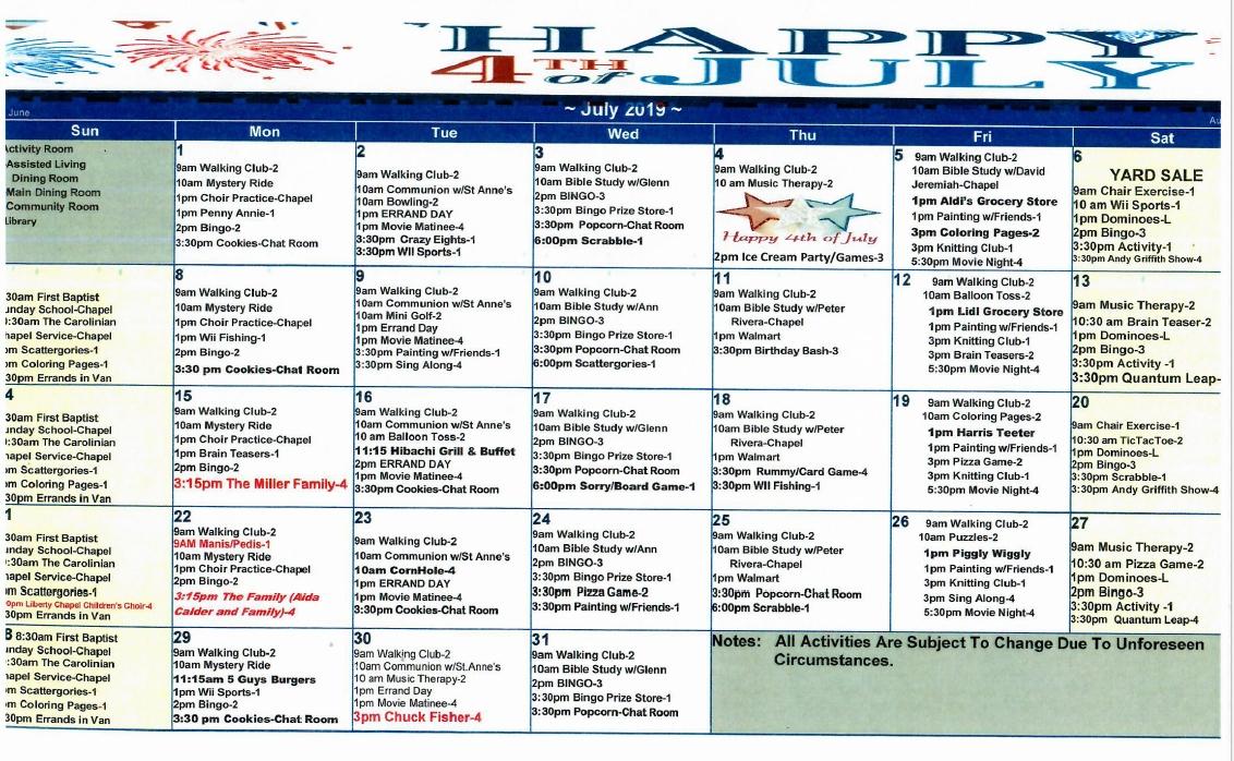 Carolinian July Calendar - The Carolinian Retirement Community