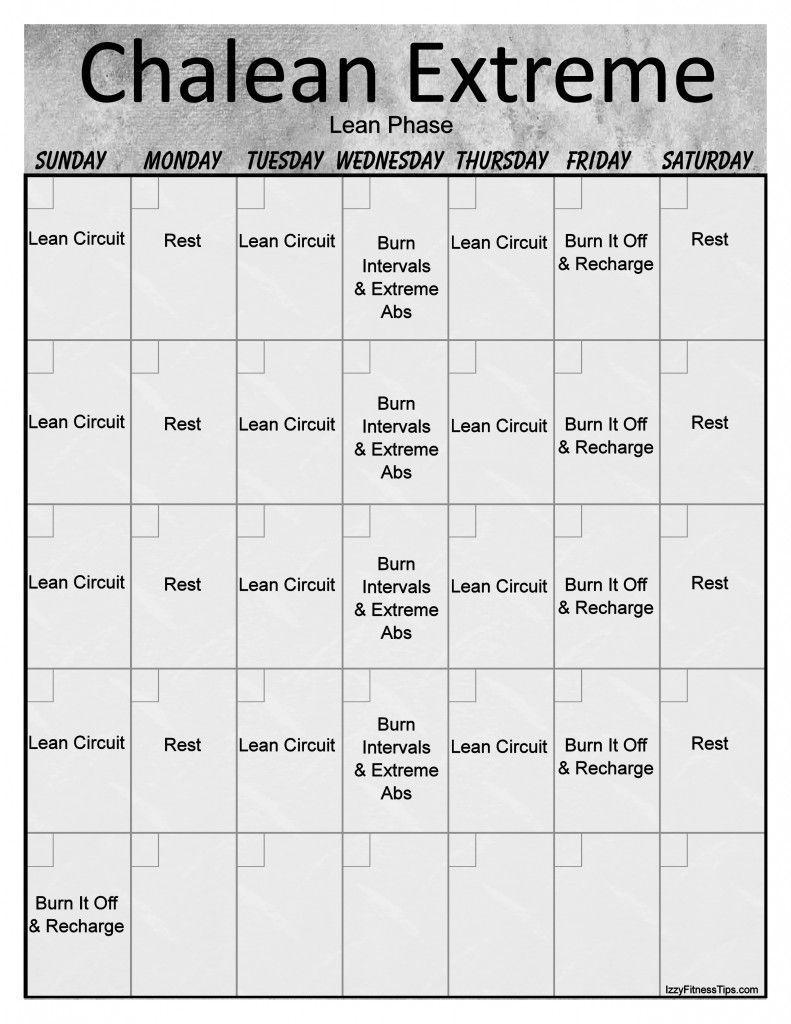 Chalean Extreme Workout Calendar   Extreme Workouts, Chalean