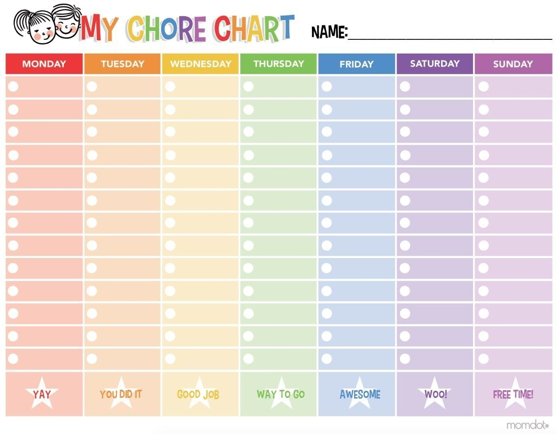 Chore Chart: Free Printable Chore Chart To Get Your Kids On