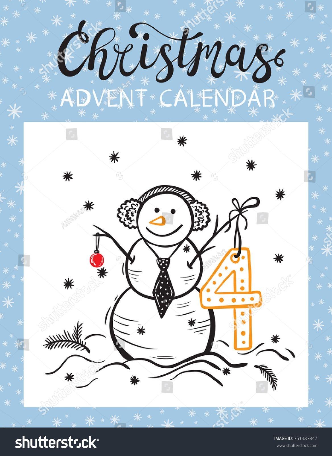 Christmas Advent Calendar Printable Card Tearoff Stock