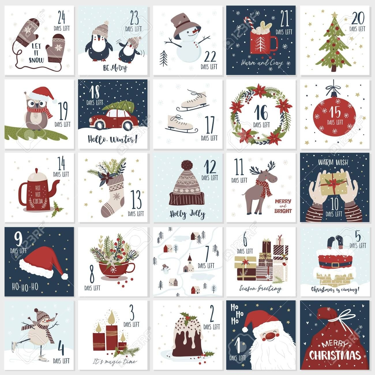 Christmas Cartoon Advent Calendar In Hand Draw Style. Count..