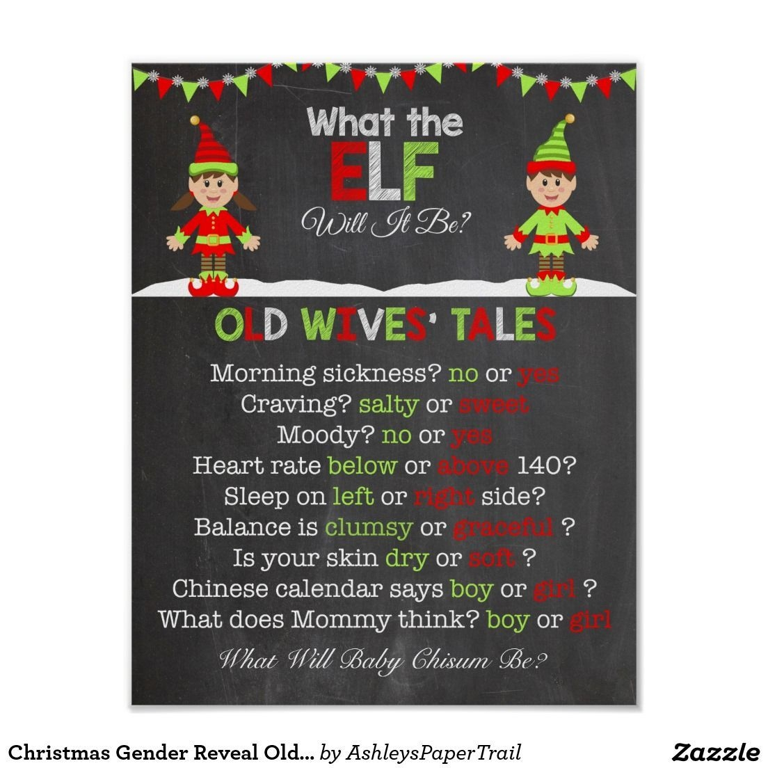 Christmas Gender Reveal Old Wives' Tales Poster | Zazzle
