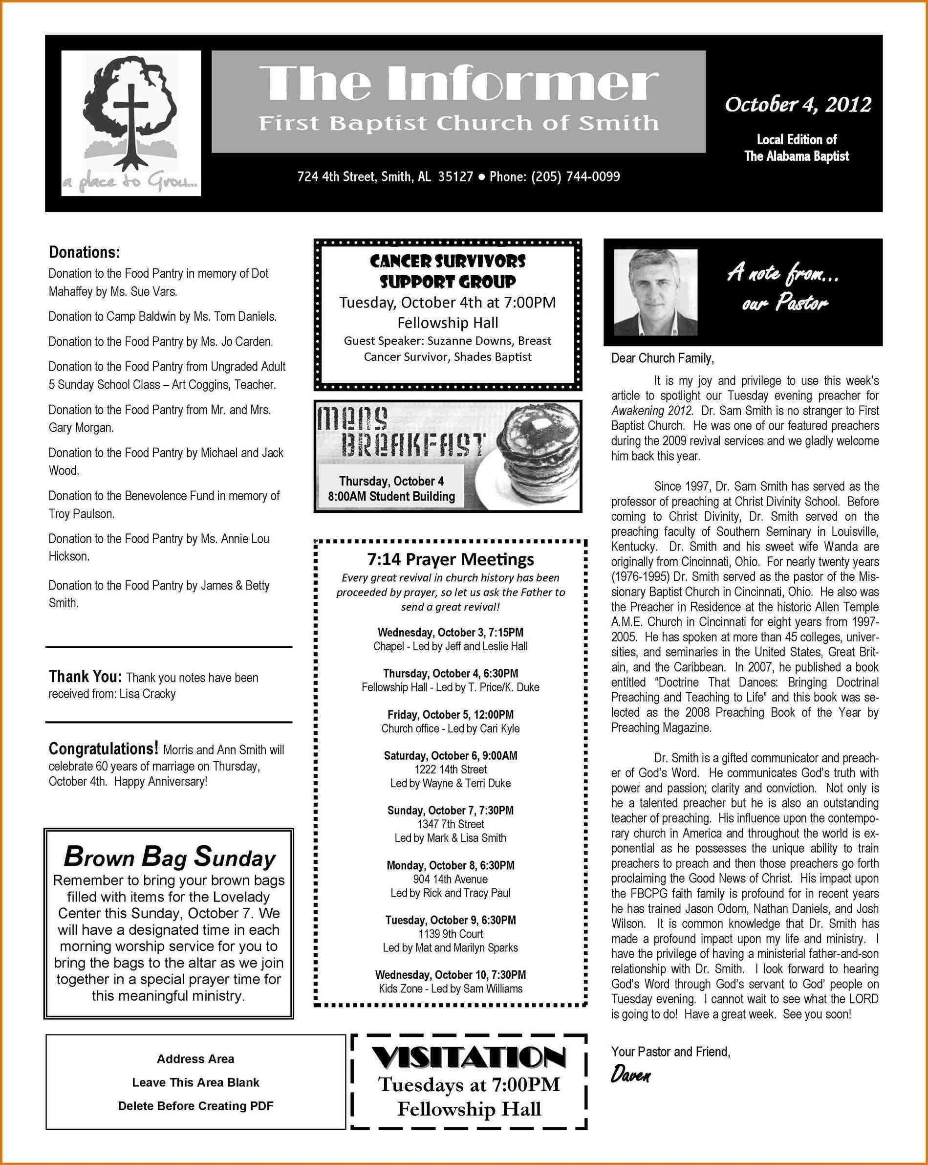 Church Newsletter Format Best Free Church Newsletter