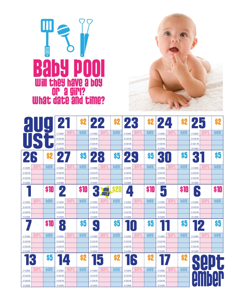 Cmf - Baby Due Date & Time Pool [Charge $1 Per Bet And