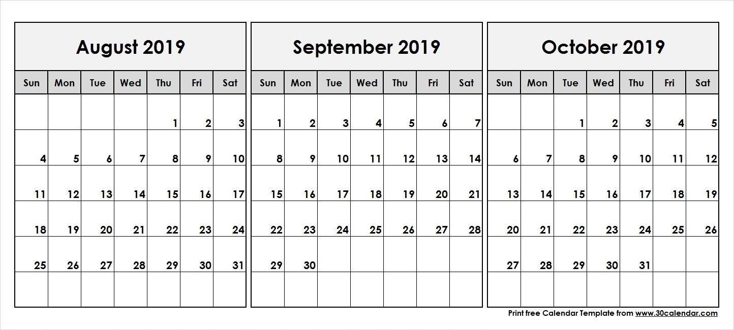 Collect August September October 2019 Calender | June 2019