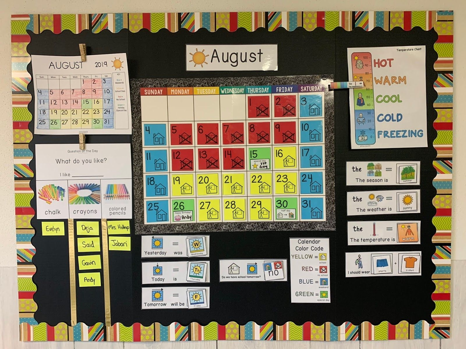Color Coded Calendar Visuals - Breezy Special Ed