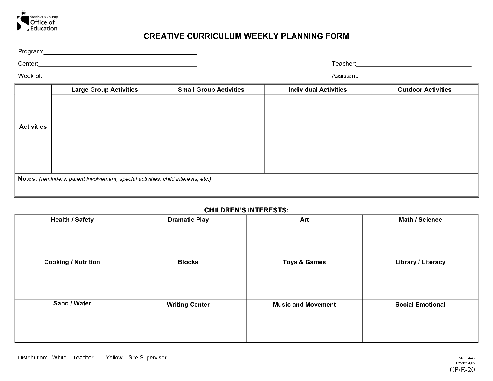 Creative Curriculum | Creative Curriculum Weekly Planning