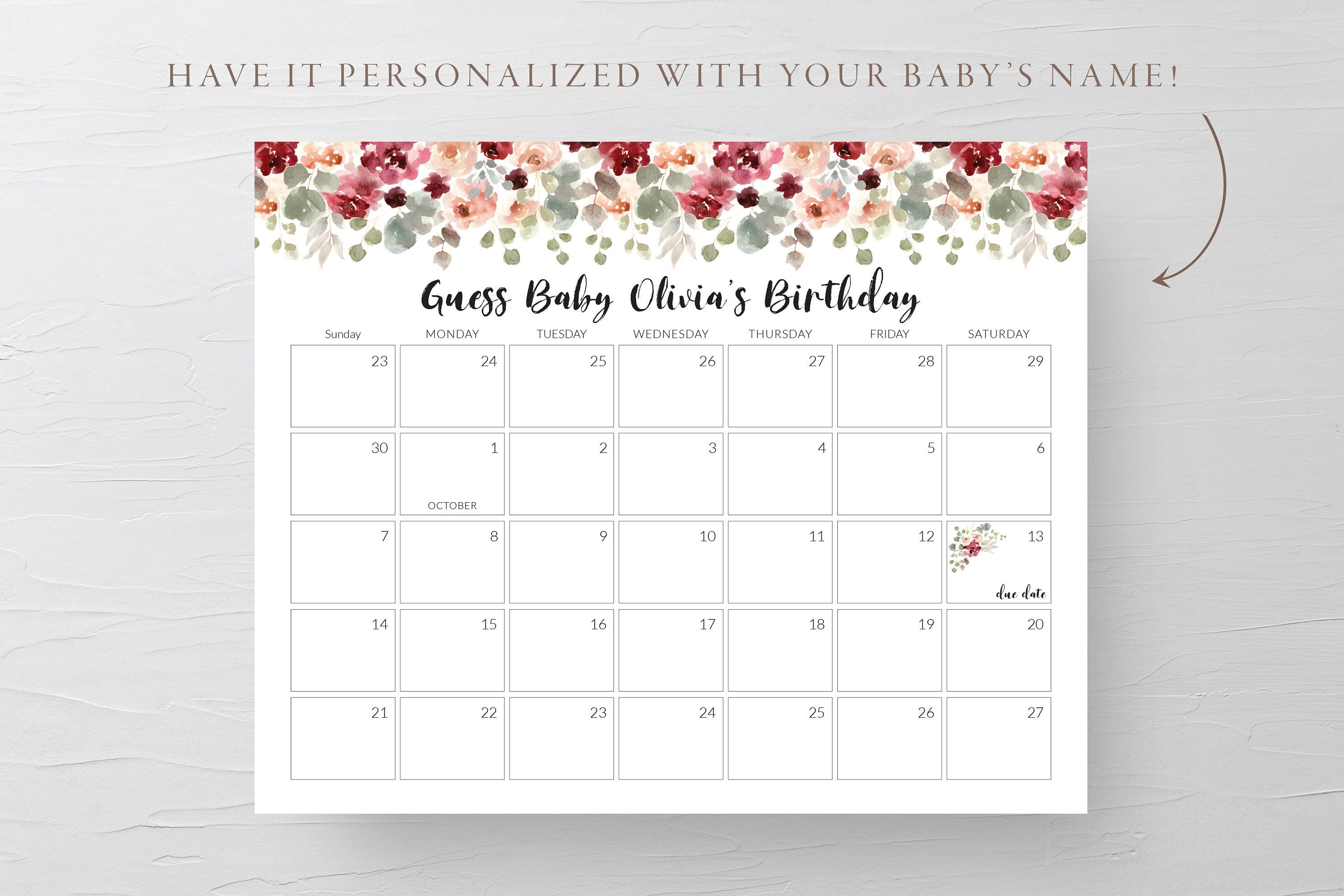 Custom Floral Baby Shower Calendar Game | Guess Baby Birthday, Guess The  Due Date, Baby Predictions Calendar, Floral Baby Due Date (1013)
